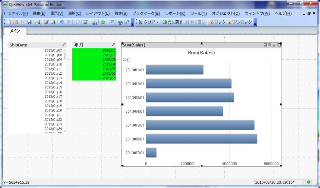 日単位の日付情報から、月単位の売上グラフを作成することができるようになります
